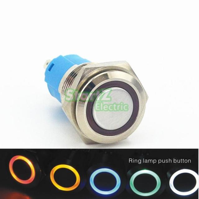 Metal LED Botão Interruptor Momentâneo 16mm Painel Do Carro 12 V Interruptor de Luz Azul Anel