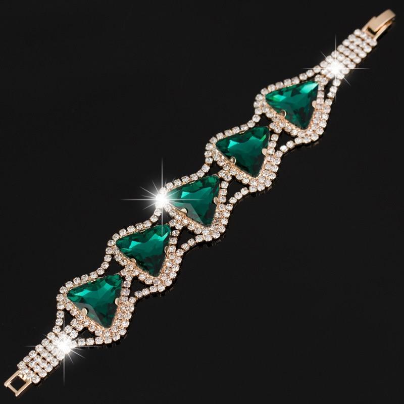 Neue frauen Mode Strass dreieck kristall Armband Kristall Kette Armreif B030