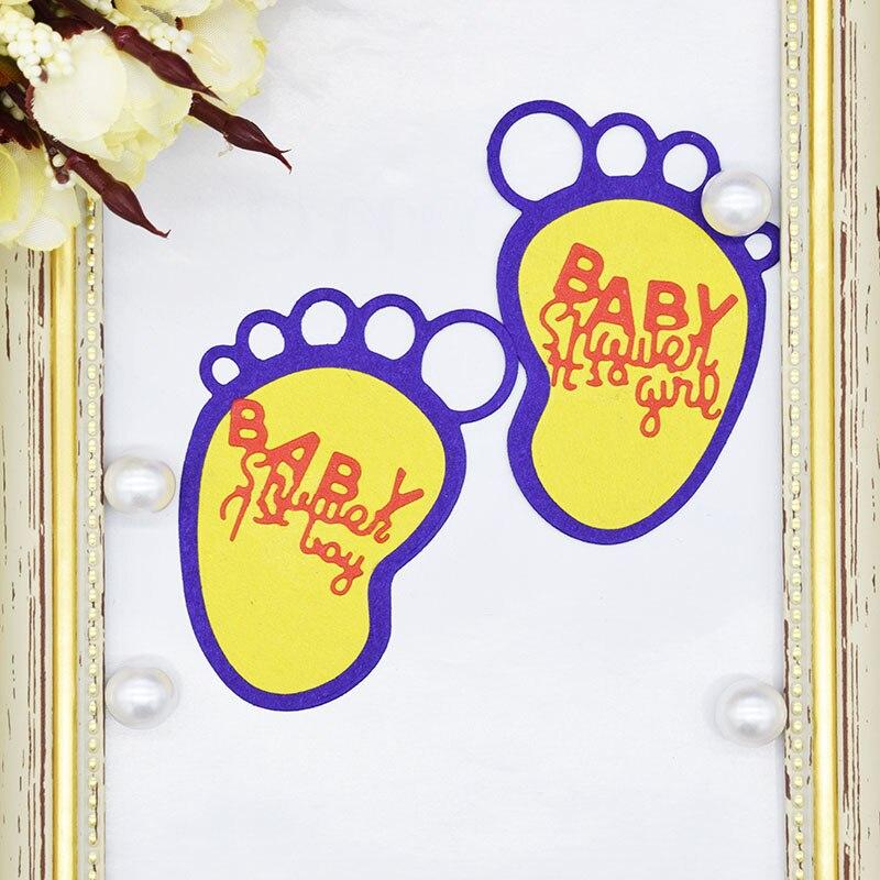 Baby Footprints Metal Cutting Dies Stencil for Scrapbooking DIY  Paper Card Embossing Craft Die Cutter DC-016
