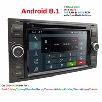 Car Multimedia Player GPS Android 8.1 2 Din Stereo System Radio For Ford/Focus/Mondeo/Kuga Quad Core Wifi Built inMicrophone DVR