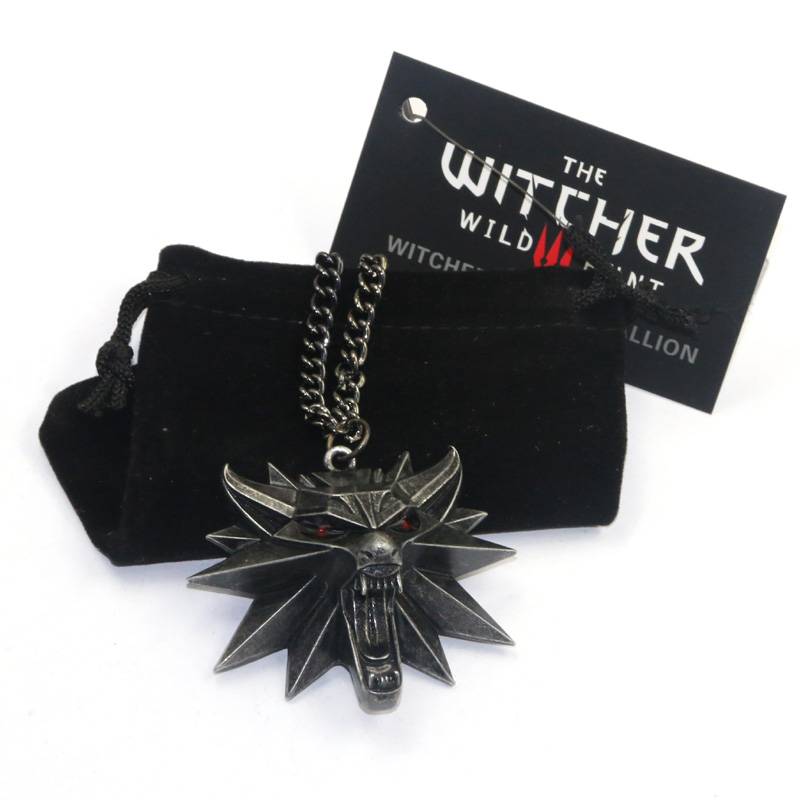100pcs Halloween The Witcher Necklace Pendants Wizard The Witcher 3 Wild Hunt Medallion game chain wolf