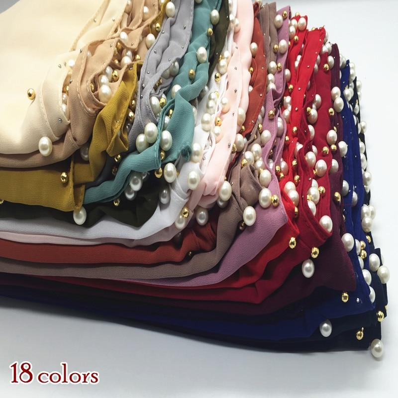 New Arrival Bubble Chiffon Scarf Scarves Pearls Bead  Women Muslim Hijab Headbands Shawls Fashion Foulard 22 Color Mulffer