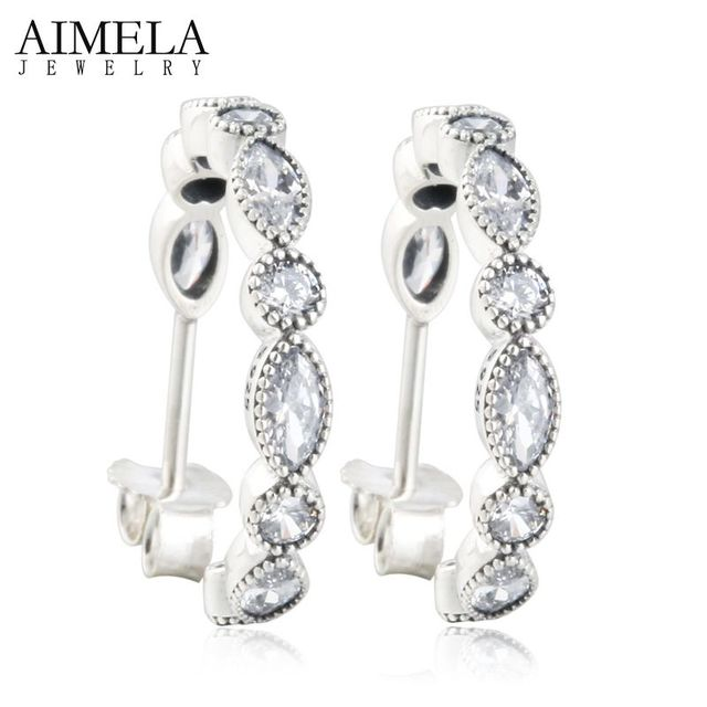 AIMELA Alluring Briliant Marquise AAA CZ Diamond Hoop Earrings For Women 100% 925 Sterling Silver 2016 Autumn Newest Design