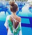 Женщины летнее платье 2016 Сексуальная Футболка Топ Спинки кисти женщина Sexy Beach Платье Плюс Размер Повседневная Vestidos бальные платья