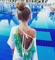 women summer dress 2016 Sexy T-Shirt Top Backless tassels woman Sexy Beach Dress Plus Size Casual Vestidos party dresses