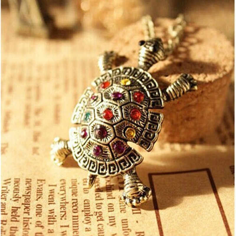 Women's Fashion Rhinestone Crystal vintage Cute Little Turtle Necklace Sweater Chain Pendant 4ND81