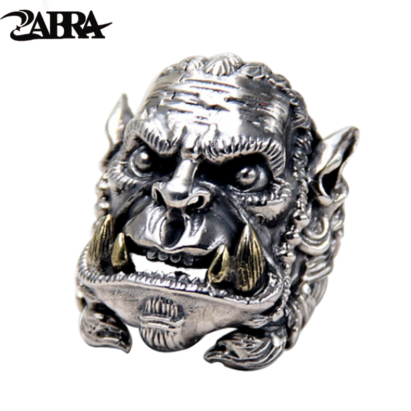 ZABRA Real Solid 925 Silver Warcraft Soldier Opening Big Rings for Men Vintage Punk World Of Warcraft Biker Sterling Jewelry
