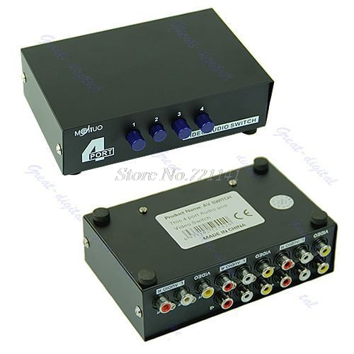 4 Port Input 1 Output Video AV RCA Switch Switcher Selector Box New Dropship