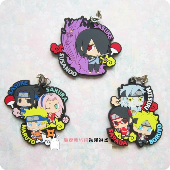 BORUTO  NARUTO THE MOVIE Sakura Kakashi Sasuke Anime Japanese Rubber Keychain