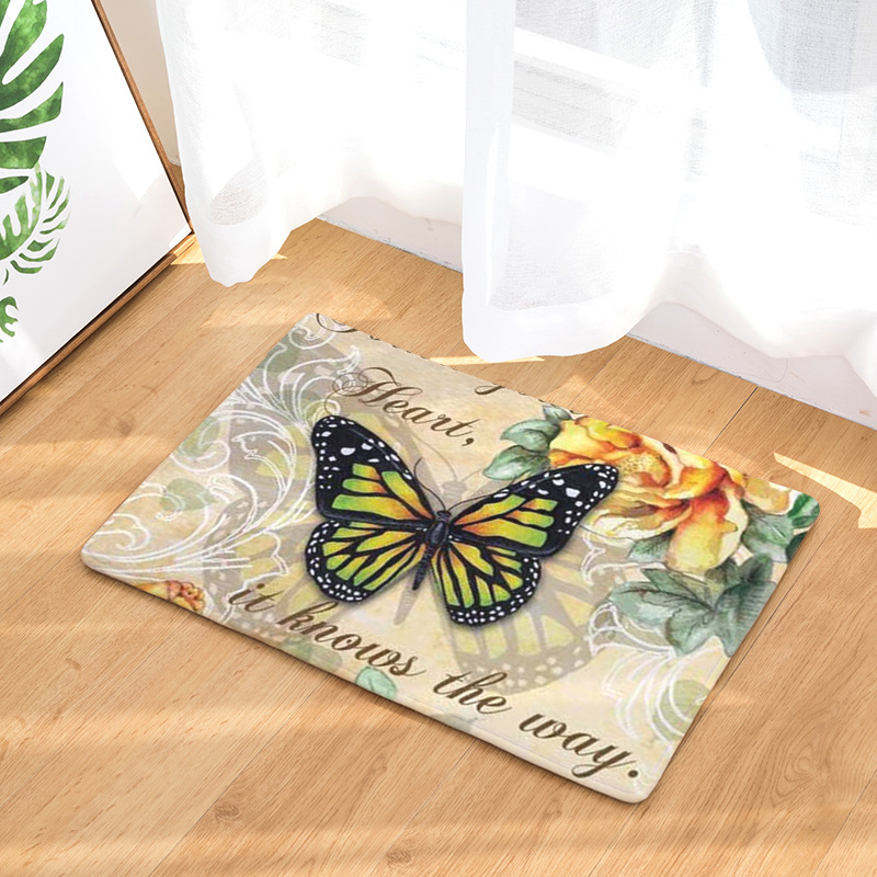Flower Butterfly Printing Fashion Rectangular Mats 40*60cm Entrance Doormats Washable Kitchen Floor Bathroom Outdoor Door Carpet