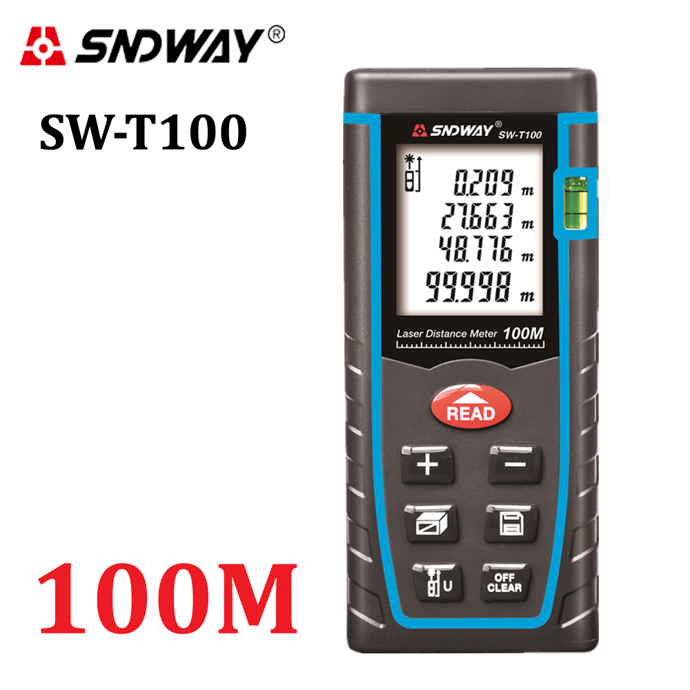SNDWAY T100 laser distance meter rangefinder 100m 328ft trena laser Bubble level range finder Building measure tape tester Tools