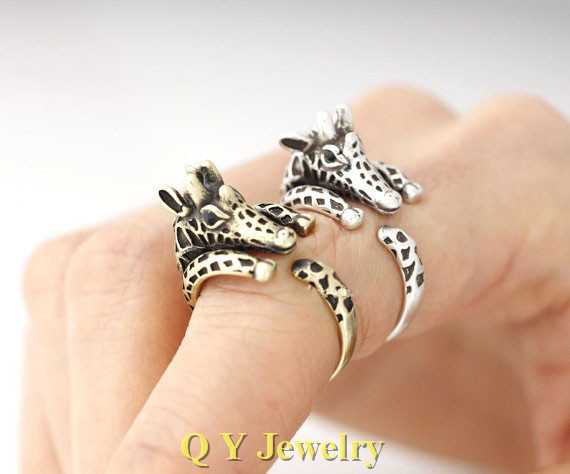handmade vintage silver hippie boho chic giraffe ring brass knuckle mid finger animal wedding rings for women men fashion in rings from jewelry - Hippie Wedding Rings