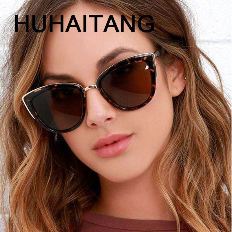 HUHAITANG Luxury Brand Cat Eye Sunglasses Brand Shades For Women Designer Sun Glasses Woman Sunglases Cateye Ladies Sunglass