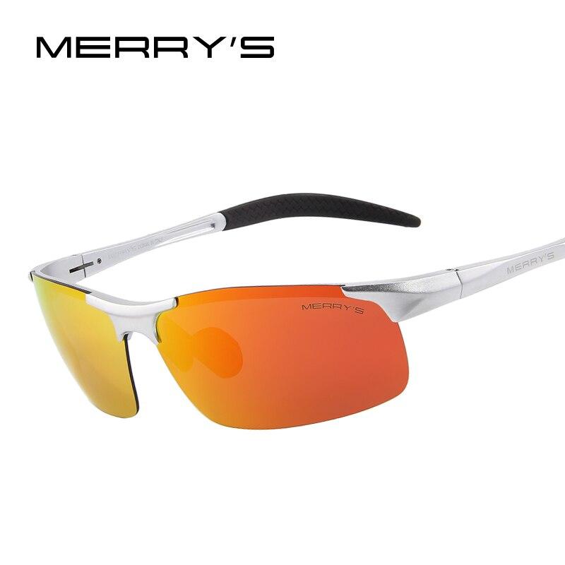 MERRY'S Uomini Occhiali Da Sole Polarizzati Occhiali Da Sole di Magnesio Alluminio di Aeronautica Per La Pesca di Guida Rettangolo Senza Montatura Shades S'8277