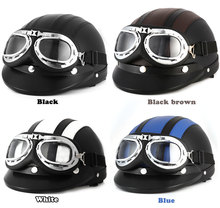 Hot Sell Motorcycle Helmet Brown Synthetic Leather vintage Motorbike Helmets Vespa Open Face Half Motor scooter Visor Goggles