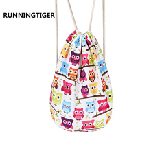 RUNNINGTIGER Brand Summer 3D printing softback Fashion Polyester backpack school bags for teenagers drawstring Backpack Women