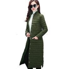 2018 autumn breast button women winter long jacket female coat ladies outerwear parka slim cotton padded chaqueta feminino