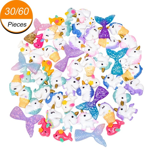 30/60 Pieces Slime Charms with Mermaid Tail Unicornm Dolphin Resin Flatback of Slime Beads for Ornament Scrapbook DIY Crafts