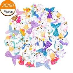 30/60 piezas de dijes de limo con cola de sirena Unicornm Delfín de resina plano de cuentas de limo para adornos álbum de recortes manualidades DIY