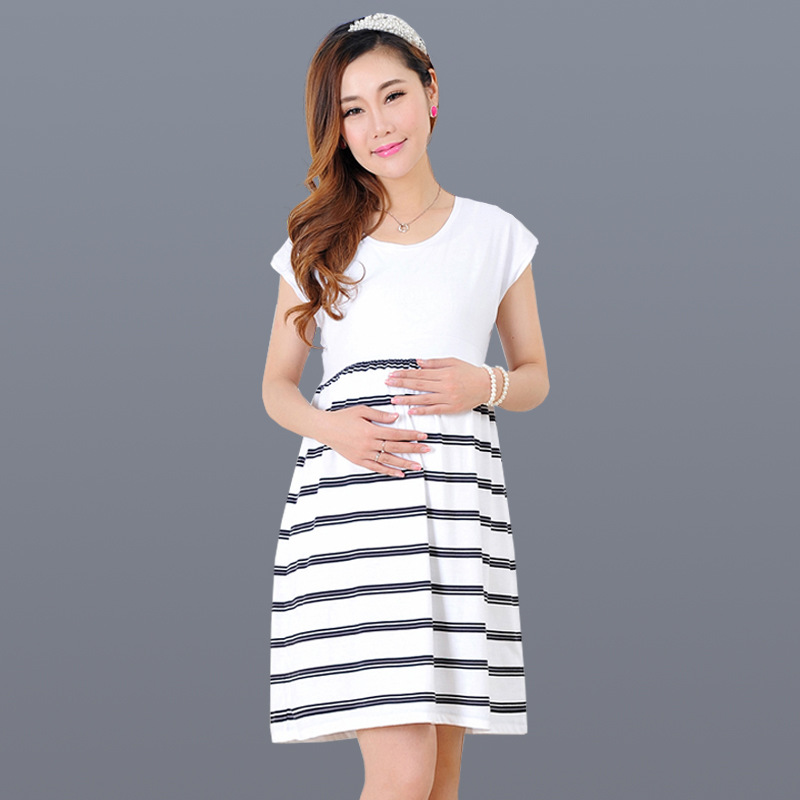 Brand redhave summer big size pregnant women and nursing dress Pure cotton Fashion stripes Medium and long term maternity dress