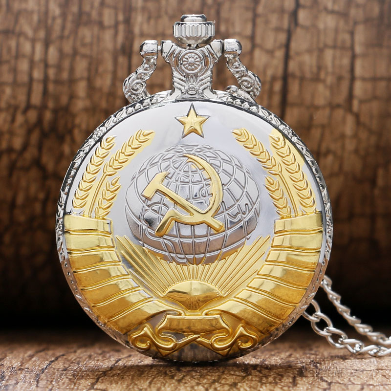 2018 Soviet Sickle Hammer Quartz Pocket Watch Men Women Pendant Vintage Bronze Necklace Gift