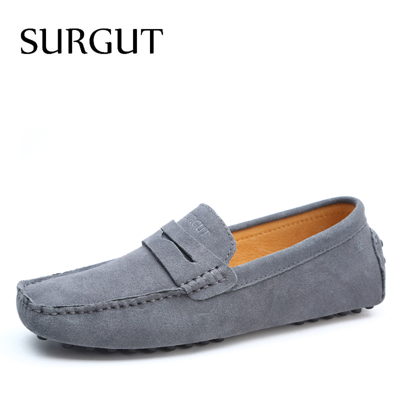 SURGUT Brand Fashion Summer Style Soft Moccasins Men Loafers High Quality Genuine Leather Shoes Men Flats Gommino Driving Shoes surgut brand new colors cow split leather men flat shoes brand moccasins men loafers driving shoes fashion casual shoes hot sell