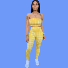 Festival Clothing 2 Piece Outfits for Women 2019 Summer Plaid Short Strapless Sexy Crop Top and Pant Suits Co-ord Set Matching sexy self tie halter open back crop top and elastic waist hotpants co ord page 1