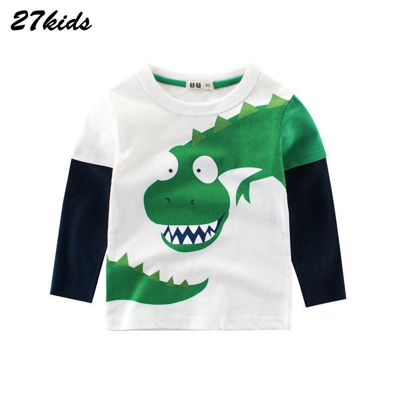 Little Boys Crew Neck Long Sleeve Tee Tops Cartoon Dinosaur and Letters Print Soft Cotton T-shirt
