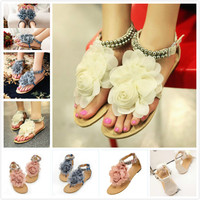 VSEN Hot Gladiator Sandals For Women Bohemia Beaded Summer Flower Flat Heels Flip Flops Women S