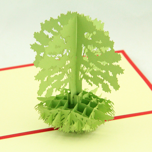 Green tree Thank you card /3D pop up kirigami card/ handmade greeting cards  Free shipping carousel horse pop up card 3d greeting card handmade kirigami card free shipping