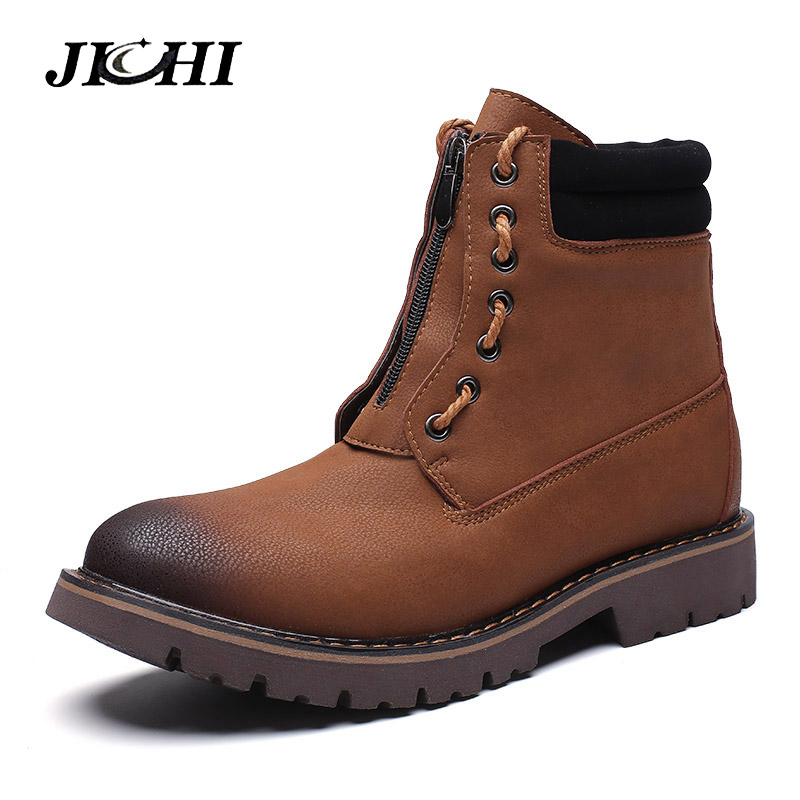 Winter Casual Boots Men Fashion Lace-up Leather Snow Boots Shoes Low Heel Front Zip Work Hombre Vintage Style Boots Men Big Size men s leather shoes vintage style casual shoes comfortable lace up flat shoes men footwears size 39 44 pa005m