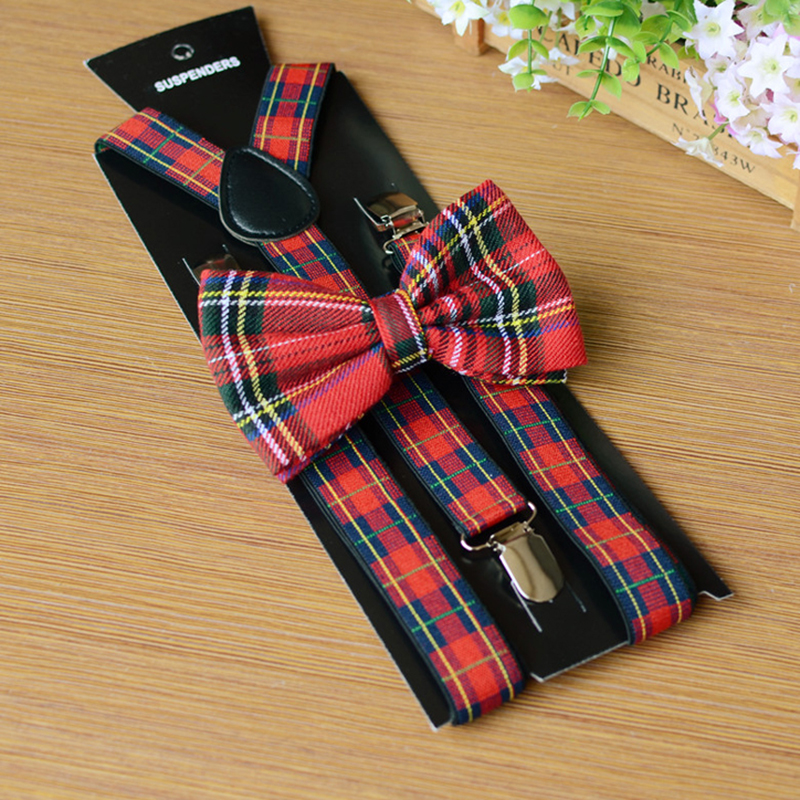 Holiday Women's Butterfly Bow Tie Brace Set Unisex Trouser Tirantes Black PU Leather Design Cheap