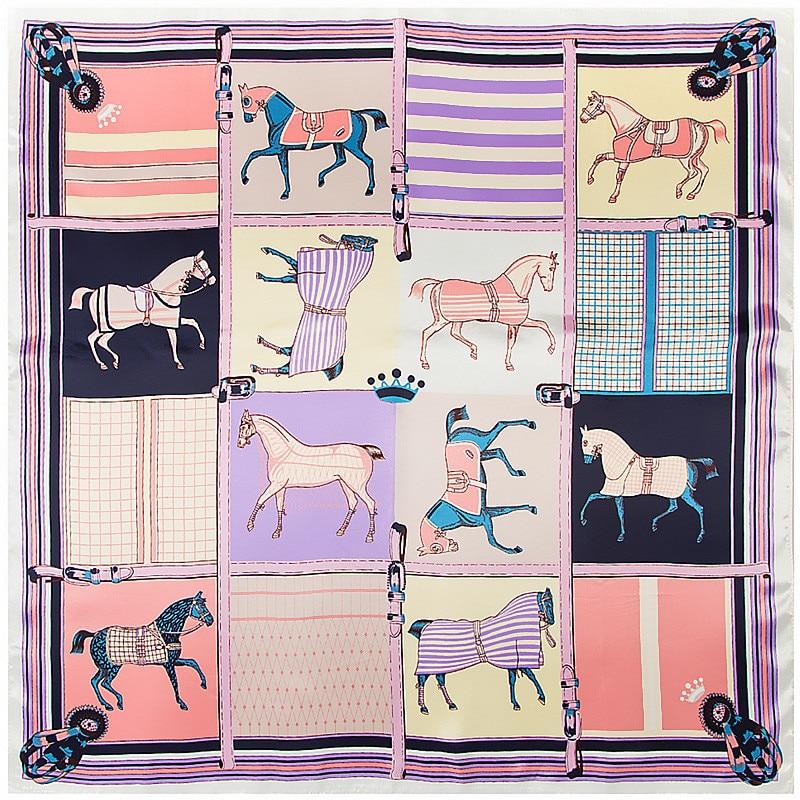 POBING Women Scarf Luxury Brand Horse Carriage Print Hijab Silk Satin Shawl Foulard Square Head Scarves Wraps For Ladies 90x90CM