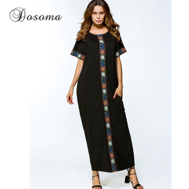 2327d39677 Casual Muslim Cotton Maxi Dress Embroidery Middle East Abaya Loose Style  Robe Summer Moroccan Burka Kaftan Hijab Islamic Arab