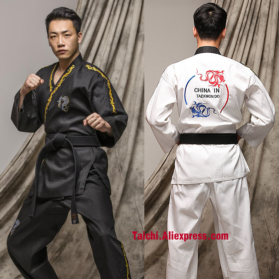 Taekwondo clothes Adult long Sleeve Men And Women Taekwondo Clothing white and blackTaekwondo clothes Adult long Sleeve Men And Women Taekwondo Clothing white and black