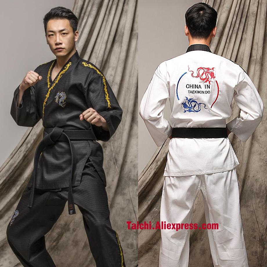 Taekwondo Clothes Adult Long Sleeve Men And Women Taekwondo Clothing White And Black