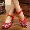 Павлин Вышивка Квартиры Повседневная Обувь Размер 34-41 Красный + Черный Ткань Танцевальная Обувь Женщина