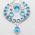 Oval Cor Prata Natal & Presente do Dia Das Bruxas Mulheres Conjuntos de Jóias Imitado Azul CZ Colar Pingente Brincos Anéis Pulseira