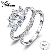 JewelryPalace Wedding 2.6ct Cubic Zirconia Bridal 3 Stone 925 Sterling Silver Fashion Ring Set For Women 2017 New hot selling