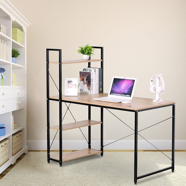 Portable Corner Computer Desk For Small Spaces With Wood 4 Shelves Storage