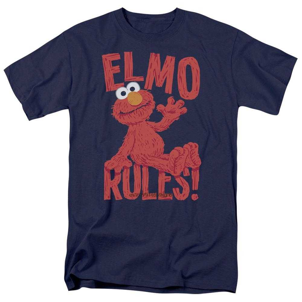 2019 Printed Men T Shirt Cotton Short Sleeve Sesame Street Elmo Rules Men's Regular Fit T-Shirtwomen t shirt
