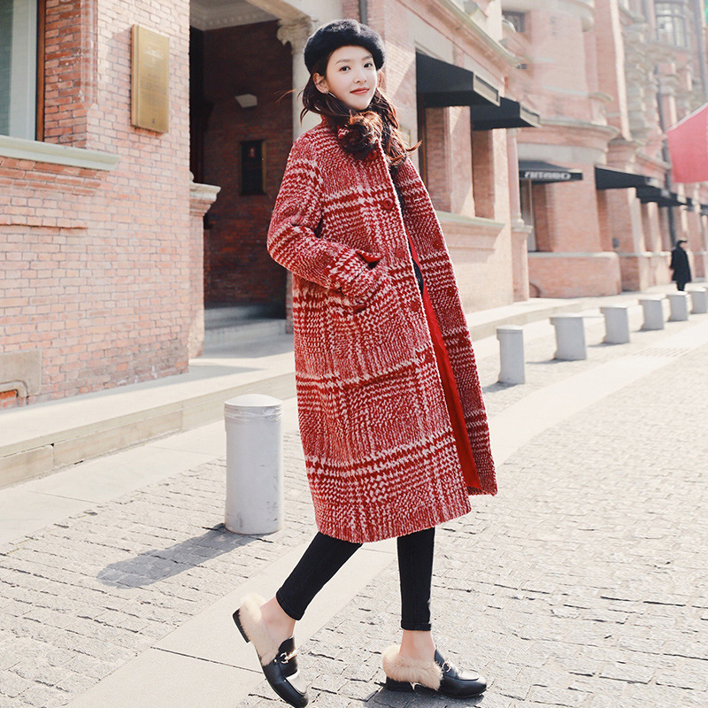 Winter Coats Jacket Turn-Down-Collar Wide-Waisted Plaid Vintage And Long