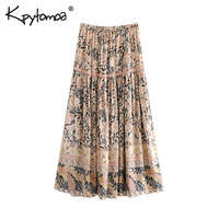 Boho Chic Summer Vintage Floral Print Long Skirt Women 2019 Fashion Lace Up Elastic Waist Side Slit Beach Skirts Faldas Mujer