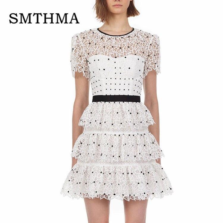 SMTHMA 2019 High-end Luxury Runway Self Portrait Dresses Women Short Sleeve Summer Lace Hollow Dot Dress Vestidos