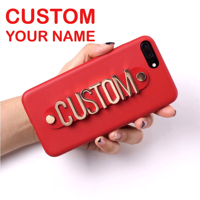 Real Leather Gold Metal Luxury Bold Custom Name Text Phone Case Coque Funda For iPhone 11 Pro Max 6S XS Max XR 7 7Plus 8 8Plus X