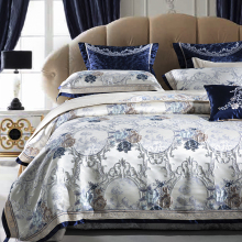 Luxury European Style Palace Bedding Set Silk Satin Cotton Jacquard Queen King Duvet Cover Bed sheet/Linen Pillowcases 4/9pcs