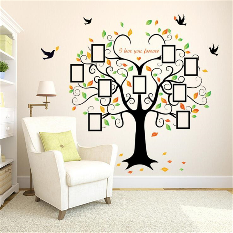 Heart Shaped Photo Frame Tree Wall Sticker Vinyl Wall Stickers For Kids Rooms Living Room Home