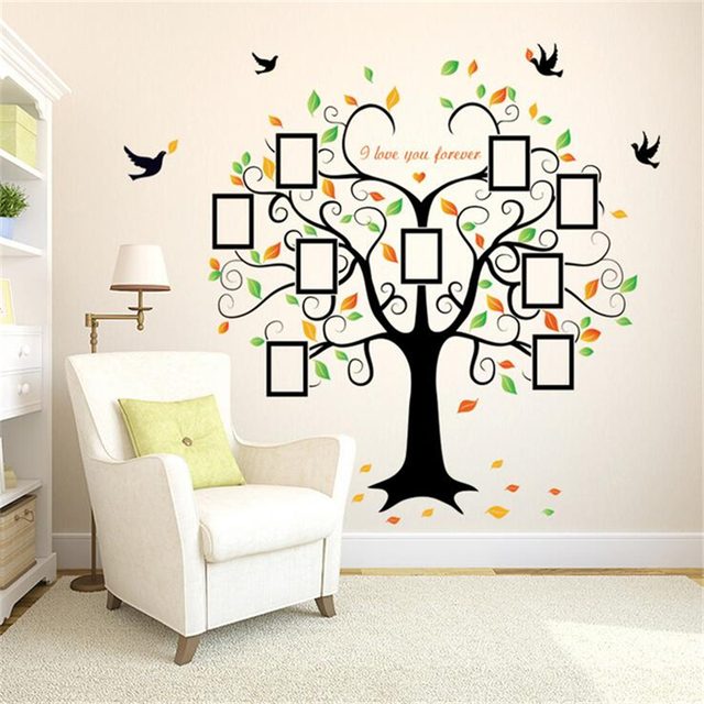 Heart Shaped Photo Frame Tree Wall Sticker Vinyl Stickers For Kids Rooms Living Room Home