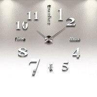 2015 Creative Large Wall Clock 3D Mirror Sticker Big Watch Home Decor Unique Gift FG
