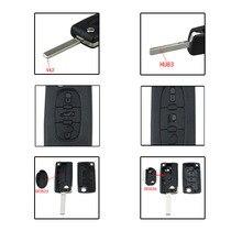 Dla Peugeot 307 408 308 dla Citroen C2 C4 inteligentny klucz samochodowy Shell 2/3/4 przyciski pilot samochodowy etui na kluczyk/pilota do samochodu okładka etui z klapką składane klucze do samochodu